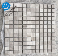 Grey Wooden Vein Marble Small Square Mosaic Floor Tile for sale,Mosaic Manufacture