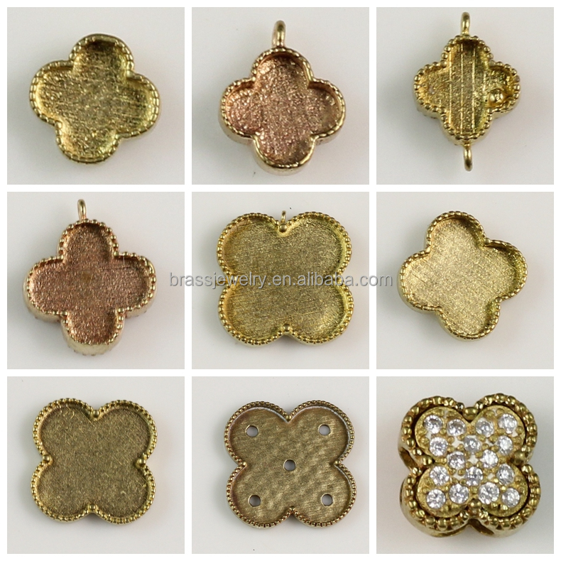 Different Designs Brass Clover Shape Blank Pendant Jewelry Settings Without Stones