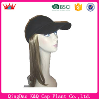 Baseball cap with wings and baseball cap with hair wig cap