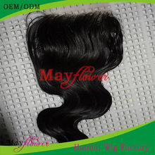 Malaysian lace closure Body wave human hair piece heavy density #1b invisible parting 3.5X4