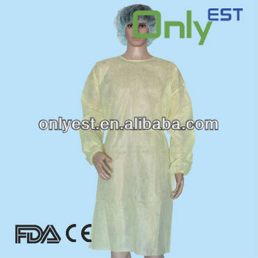 Disposable knitted cuff nonwoven white surgical gowns