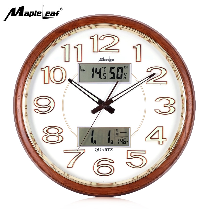 Multifunctional Luminous Night Light Perpetual Calendar Clock Quartz Wall Clock with Temperature Humidity Display