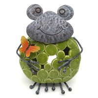 Home & Patio Use Tabletop Standing Frog Figurine With Ceramic Tealight Holder Metal Crafts