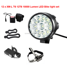 Super Bright 18000LM CREE 12 T6 LED Mountain Bike Light Cycling Bicycle Head Lights With battery pack set