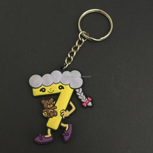 3D Cartoon figure soft pvc keychain with keyring