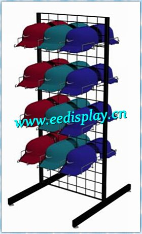 Flooring 2 side grid wire hats display rack/Two-sided gridwall floor display for Store or Supermarket