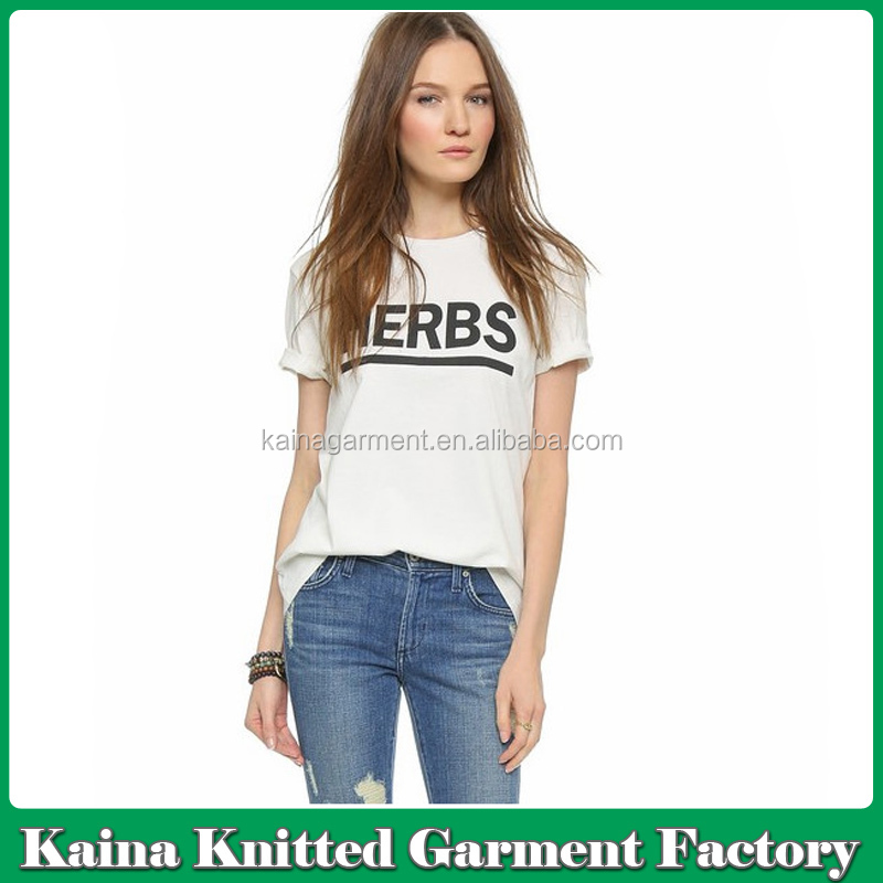 Women's top tee white custom tshirt printing custom t shirt