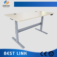 Height adjustable metal frame office desk
