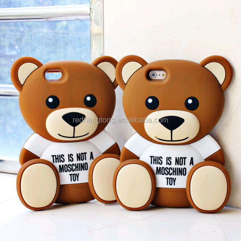 Lovely Cases 3D Teddy Cartoon Bear Toy Brown Soft Silicone Phone Case Cover for iPhone6