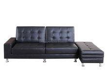 Futon sofa cum bed black leather extension sofa bed