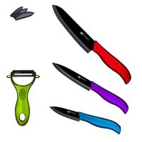 XYJ Brand 3, 4, 6 Inch Fruit Utility Chef Knife Kitchen Knives Mutli Color Handle Black Blade Ceramic Knives Set Cooking Knives