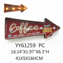 Factory price coffee custom printing embossed LED light tin sign for wall decor, custom metal wall plaque