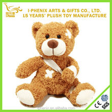 Pleasing injured teddy bear stuffed plush toy exclusive design OEM stuffed toy