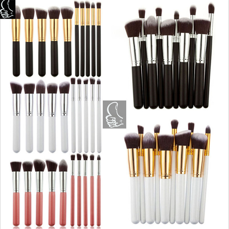 2016 Alibaba Best private label 10pcs synthetic kabuki makeup brush with Black+ Silver