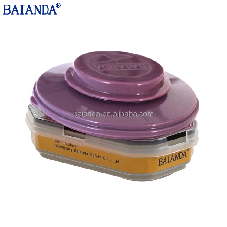 BAIANDA 65215 Half Mask Chemical Cartridge With Particulate Filter +Cover ,OV/AG/Connector/<strong>P100</strong>, Gas Mask filter