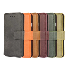 PU leather material phone case matte flip wallet cover factory bottom price phone hull for iPhone 7