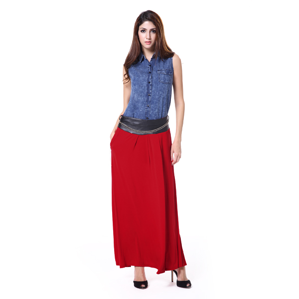 A line red color casual style long skirt long winter skirts
