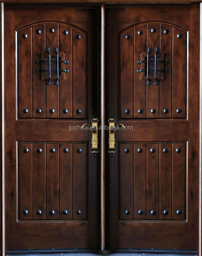 Rustic wrought iron double entry doors