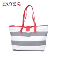 Fashion strip lady pu leather handbag with embroidered buckle for shopping