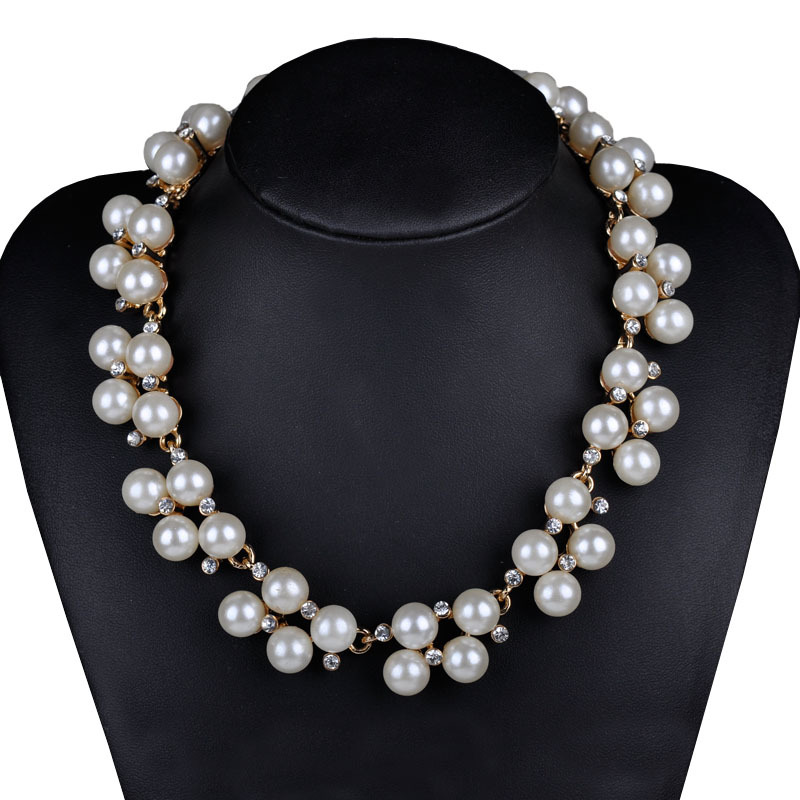 New Bridal Bridesmaid Faux Pearl Rhinestone Crystal Collar Necklace
