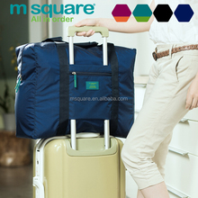 Trendy waterproof nylon material expandable folding big travel bag for trolley case