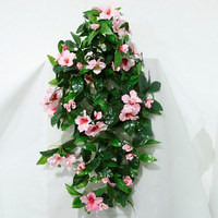 70cm pink hibiscus cheap artificial plastic flower hanging bush factory wholesale artificial flower for wall decoration
