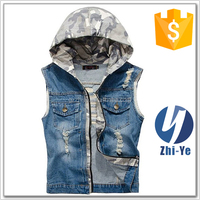 men's outerwear camouflage jeans denim vest with hoodie
