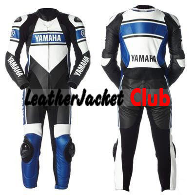 Yamaha Motorcycle Grey & Blue Biker Leather Racing Suit