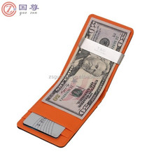 New Faux Leather Metal Money Clip Mens Wallets Purse Black/Orange