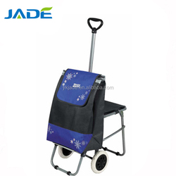 600D Polyester with PVC coated fabric wholesale folding shopping trolley bag with 2 wheels disabled shopping cart with chair