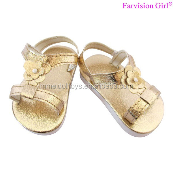 Golden and Silver 18 Doll Shoes Wholesale cheap doll shoes