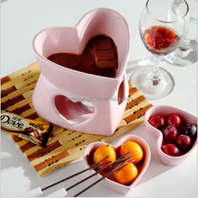 Fondue Factory wholesale custom ceramic heart shape chocolate fondue set