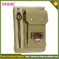 Army green canvas mini fanny pack /custom money bag for MP3