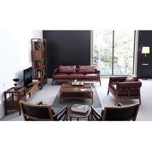 Solid Wood Frame Couch Chinese Style Settee Simple Home <strong>Furniture</strong> Sectional Genuine Leather Sofa