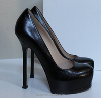 ladies high heels women fashion cheap Black Leather Platform Pump Shoes 12cm 14cm 16cm thin heel