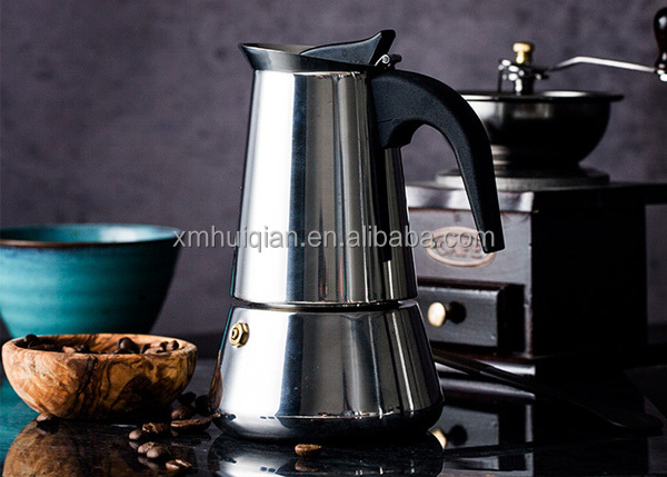 high quality stainless steel moka pot for two person