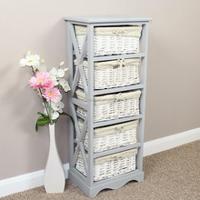 Vintage Gray Handmade Bedroom 5 Drawers Cabinet Wooden