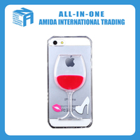 new wine cup deisgn liquid TPU clear crystal case for iphone