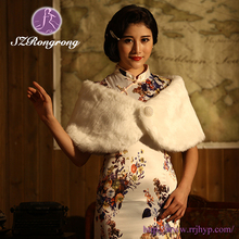 PJ03 2015 Elegant Evening Jackets Winter Ladies Cape White Faux Fur Shawl Wedding Wrap