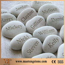 White Natural Stone Carved pebble / Lettering Pebble /engraved pebble