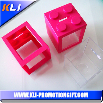 Plastic colorful square removable piggy bank custom money box