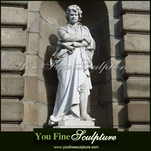 Copy Famous Music Genius Natural White Marble Beethoven Sculpture