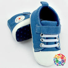 Baby Blue Jean Canvas Shoes Soft Toddler Baby Crib Shoes 4 Sizes For Choose