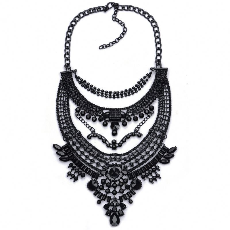 Black Color Ixchell Art Deco Crystal Embellished Bold Statements Necklace