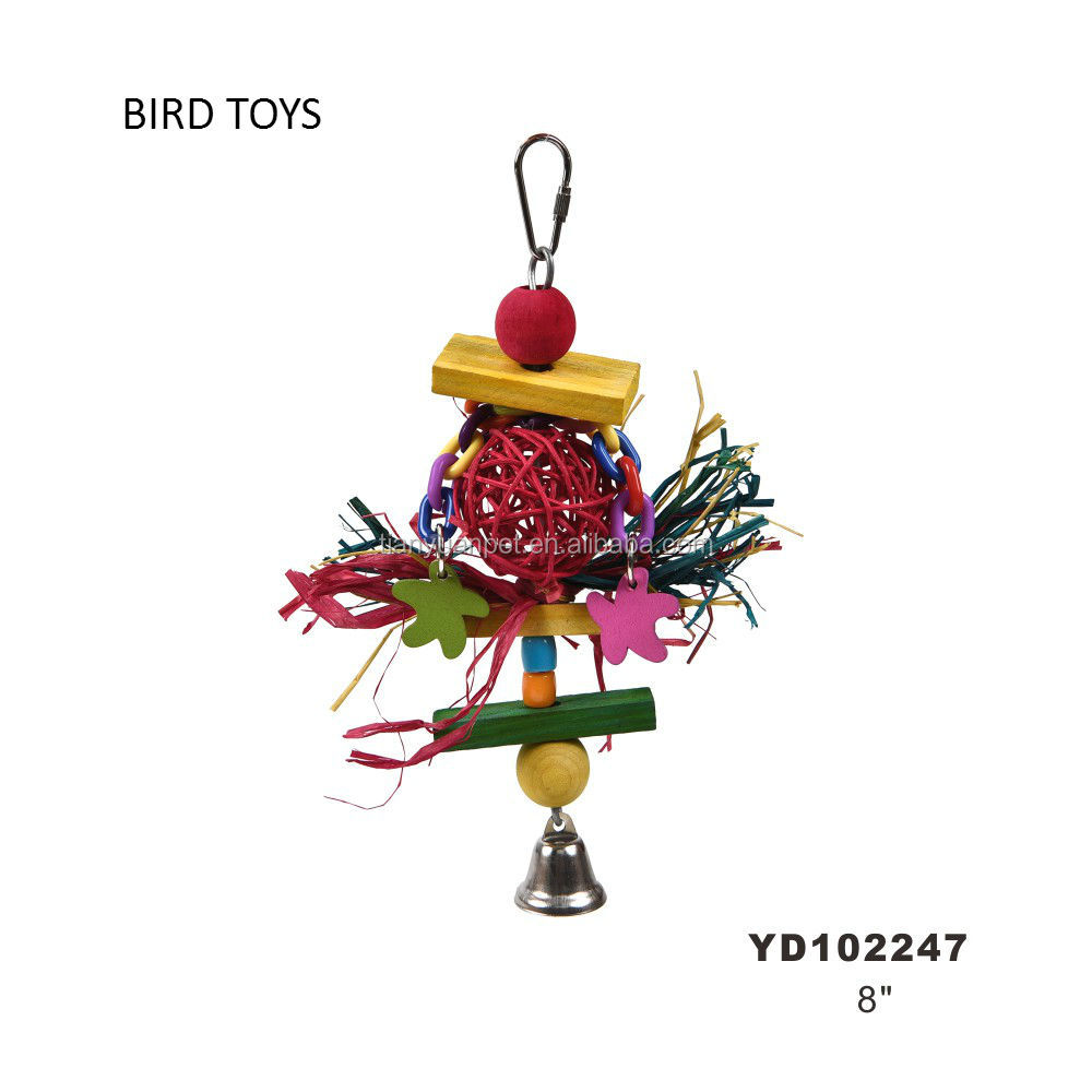 Wooden Bird Toys for Parrot Colourful Ball Chew Toy