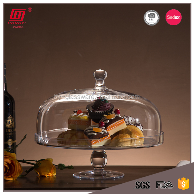 Handmade Multifunctional Clear Glass Cake Dome With Stand