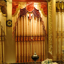 Gold metallic jacquard embroidered curtain fabric, super luxury living room window shade cloth, inerior drapery 7103-11