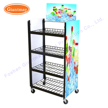 4 tiers movable metal wire supermarket advertising soft drinks liquid bottle water display rack with 4 wheels