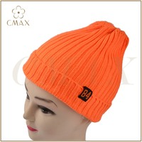Orange striped acrylic/wool/cashmere lady fashion winter knitted beanie/hat