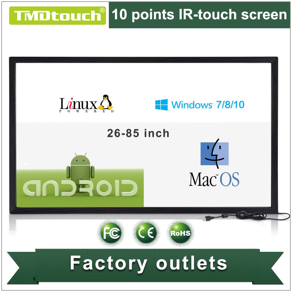 [TMDtouch]65 inch High Quality ir multi touch screen overlay,ir touch frame kit for education